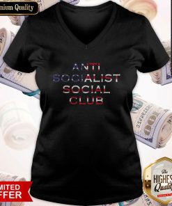 Good American Flag Anti Socialism Social Club V-neck