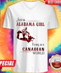 Top Just An Alabama Girl Living In A Canadian World V-neck