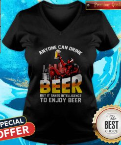 Deadpool Anyone Can Drink Beer But It Takes Intelligence To Enjoy Beer V-neck