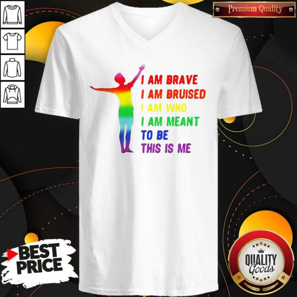Megan Rapinoe I Am Brave Bruised Who Meant To Be Lgbt Flag V-neck