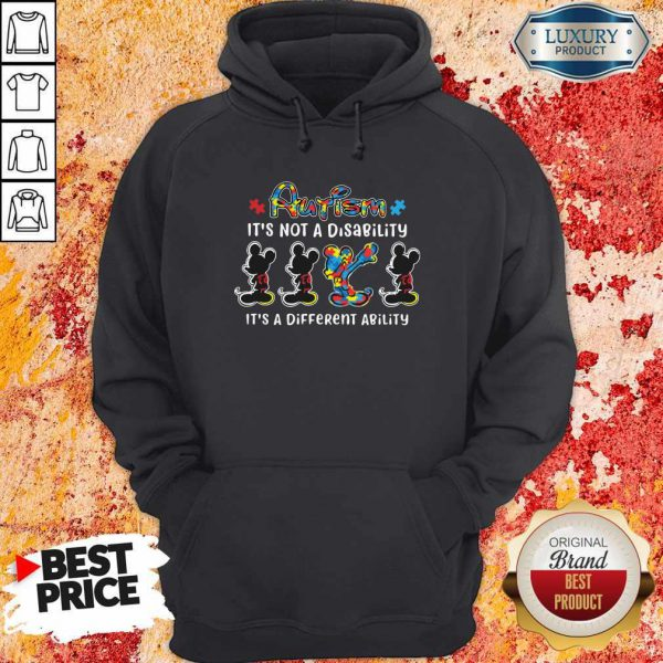 Mickey Mouse Autism It's Not A Disability It's A Different Ability Hoodie