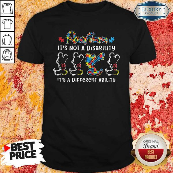 Mickey Mouse Autism It's Not A Disability It's A Different Ability Shirt