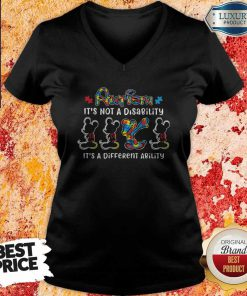 Mickey Mouse Autism It's Not A Disability It's A Different Ability V-neck