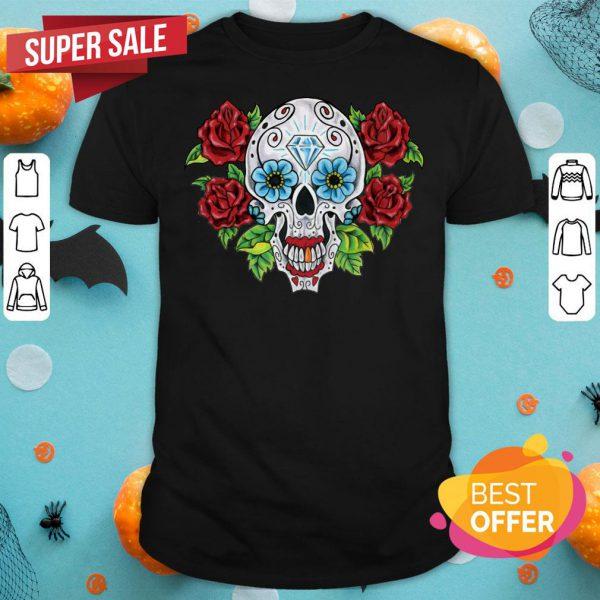 Sugar Skull With Flower Dia De Los Muertos Day Dead Shirt