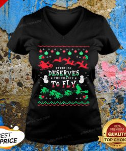 Everyone Deserves The Chance To Fly Ugly Christmas V-neck