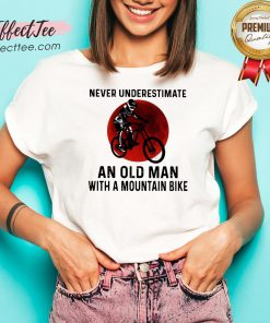 Hot Never Underestimate An Old Man With A Mountain Bike Blood Moon V-neck - Design By Effecttee.com