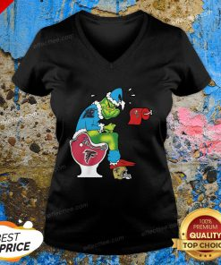 Love The Grinch Carolina Panthers Shit On Toilet Atlanta Falcons And Other Teams Christmas V-neck - Design By Effecttee.com
