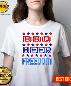Top BBQ Beer Freedom USA America 2020 Proud American V-neck - Design By Effecttee.com