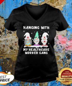 Gnomies Nurse Hanging With My Healthcare Worker Gang Christmas V Neck - Design By Effecttee.com