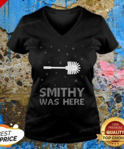 Smithy Was Here Ugly Christmas V Neck- Design By Effecttee.com
