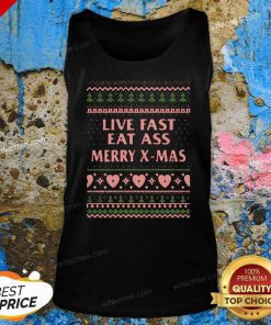 Live Fast Eat Ass Merry X-mas Ugly Christmas V Neck - Design By Effecttee.com