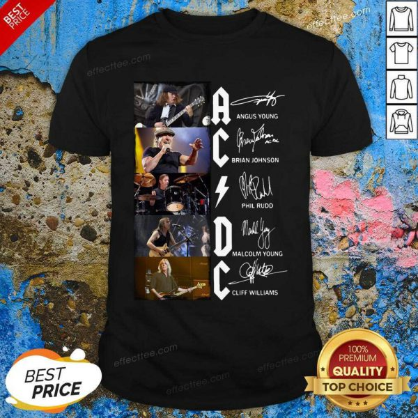 Ac Dc Angus Young Brian Johnson Phil Rudd Malcolm Young Cliff Williams Signatures Shirt- Desgin By Effecttee.com