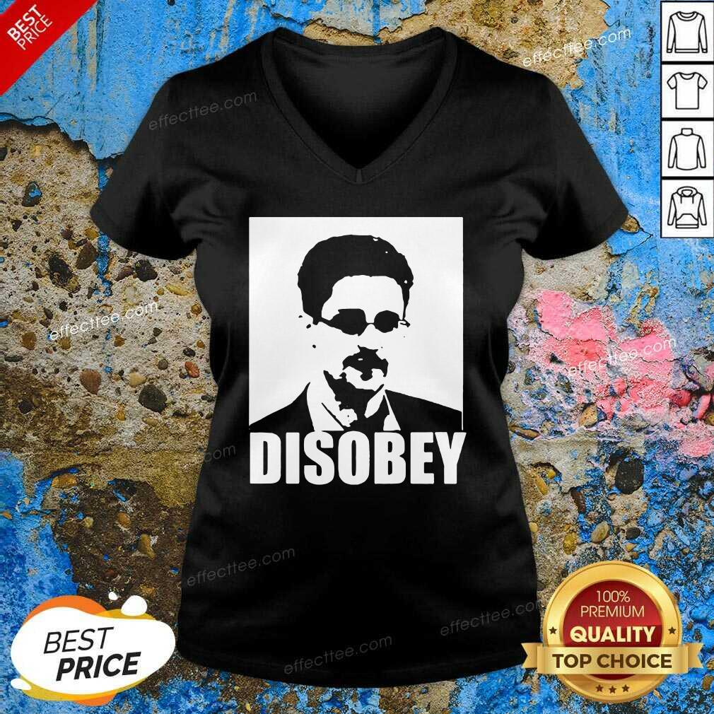 Edward Snowden Disobey V Neck- Design By Effecttee.com
