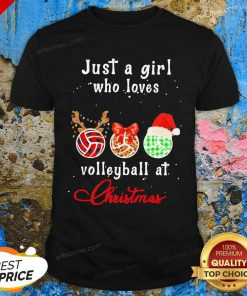 Just A Girl Who Love Volleyball At Christmas Shirt - Design By Effecttee.com