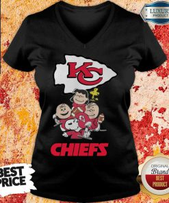 Envious Snoopy And Friends Kansas City Chiefs 22 Super Bowl LV V-neck - Design by Effecttee.com