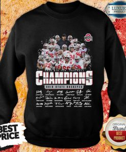 Unhappy Ohio State Buckeyes 2020 Big Ten Football 4 Champions Signatures Sweatshirt - Design by Effecttee.com