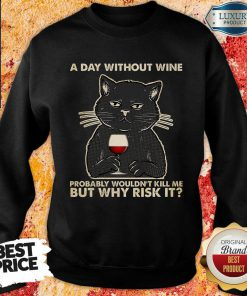 Black Cat A Day Without Wine Probably Wouldn't Kill Me But Why Risk It Sweatshirt